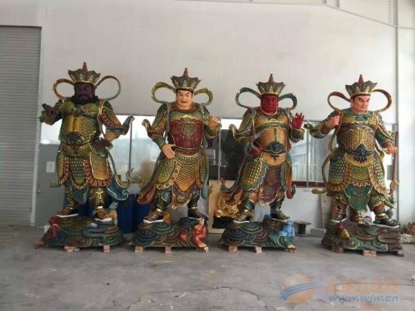 佛像雕刻 木雕四大天王坐像